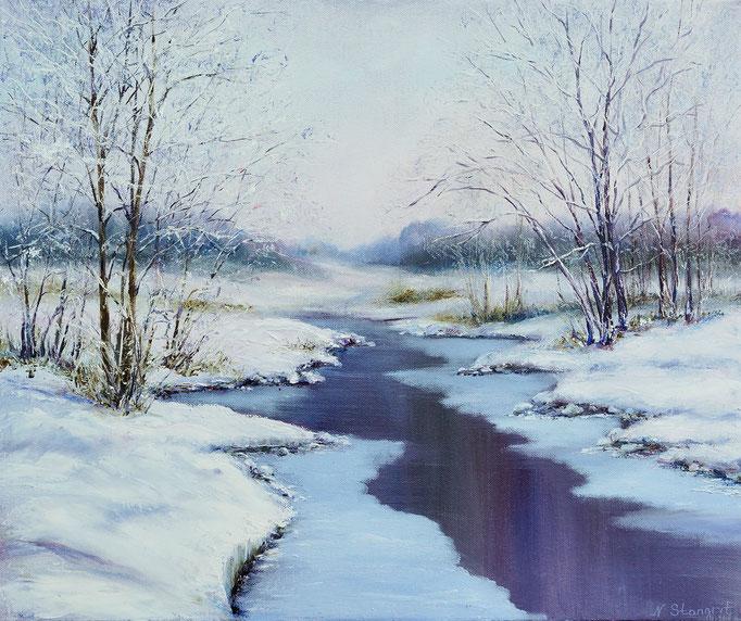 Frozen River  Oil on canvas, 40 x 50 x 1 cm. 12-2015 sold