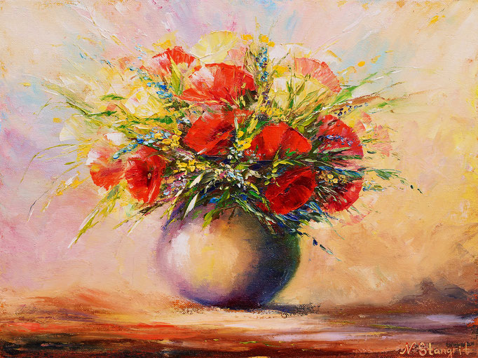 Bouquet of torrid flowers Oil on canvas panel, 30x40cm, 2016