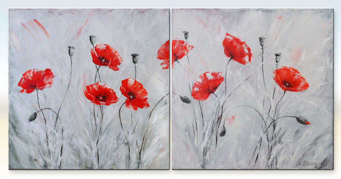 Diptych with poppies Oil on canvas. 2: 40cm x 40cm, 2016