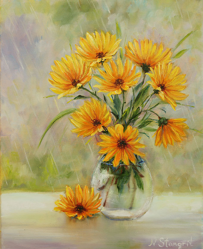 Yellow Flowers Oil on canvas, 24x30 cm, 10-2017