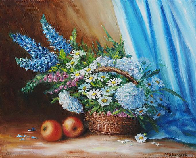 Garden Flowers, Oil on canvas, 40x50 cm, 2015 Sold!