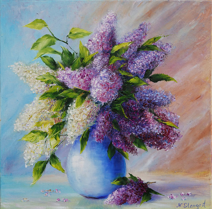 A bouquet of Lilac Oil on canvas, 40x40 cm. 12-2017 Sold!