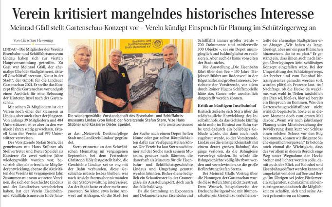 Lindauer Zeitung, 15.Juni 2019, Bericht über Mitgliederversammlung am 4.Juni 2019