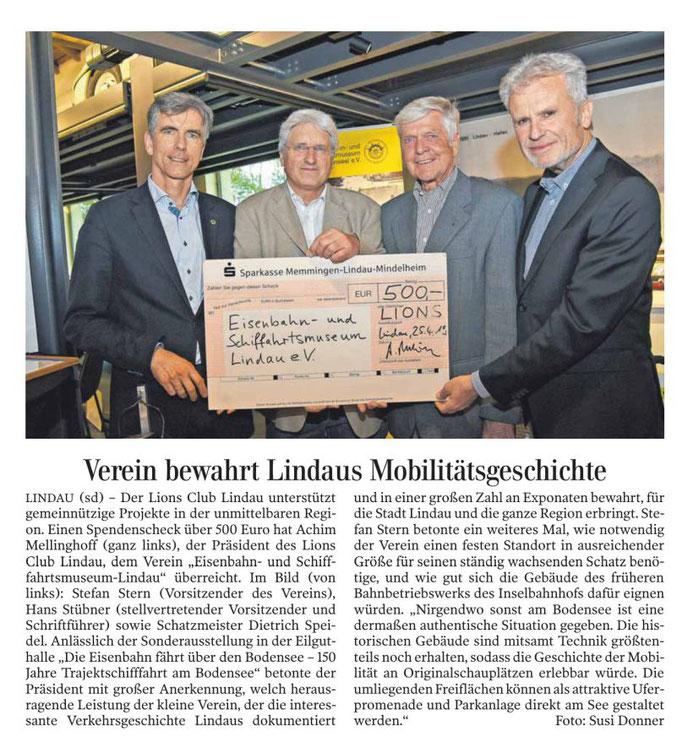 Lindauer Zeitung, 3.Mai 2019, Scheckübergabe LIONS Lindau durch Präsident Achim Mellinghoff