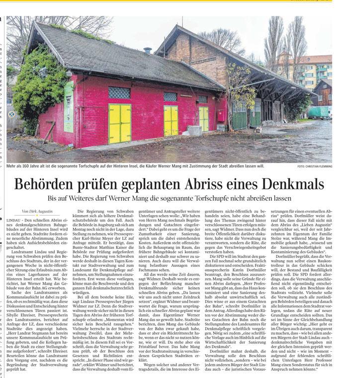Lindauer Zeitung, 03.Dezember 2019, Bericht über Torfschupfe