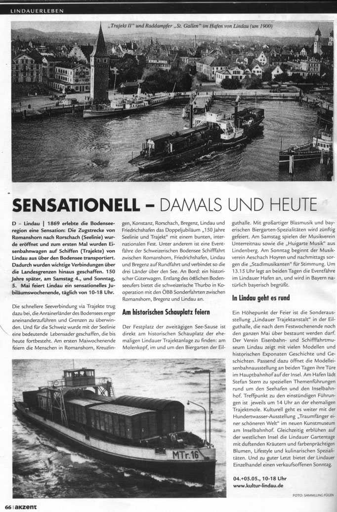 Akzent, Magazin Bodensee-Oberschwaben,  April 2019 : 150 Jahre Trajekte am Bodensee