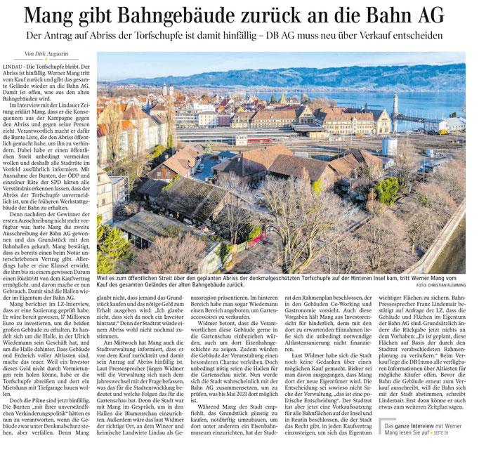 Lindauer Zeitung, 21.12.2019, Bericht über Torfschupfe:Prof.Mang tritt vom Kauf zurück