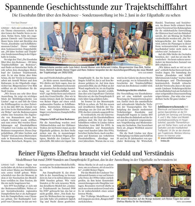 """Lindauer Zeitung, 27.04.2019: Eröffnung Ausstellung """"Die Eisenbahn fährt über den See - 150 Jahre Trajektschifffahrt am Bodensee"""""""