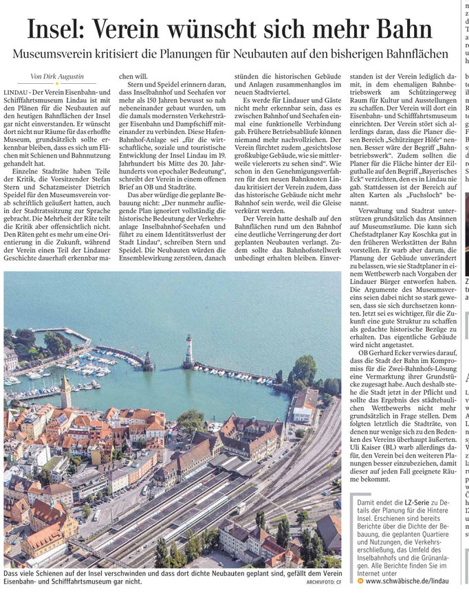 Lindauer Zeitung, 11.Mai 2019, Verein wendet sich gegen die totale Überbauung des Inselbahnhofs