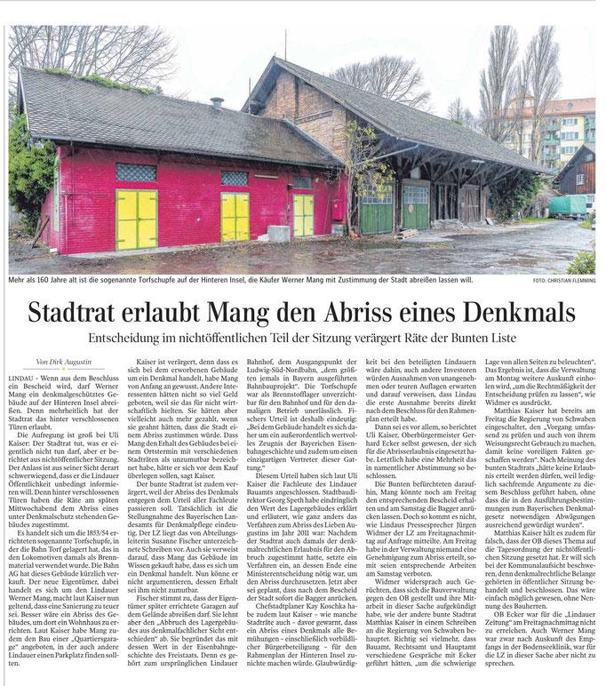 Lindauer Zeitung, 29.November 2019, Bericht über drohenden Abriss Torfschupfe