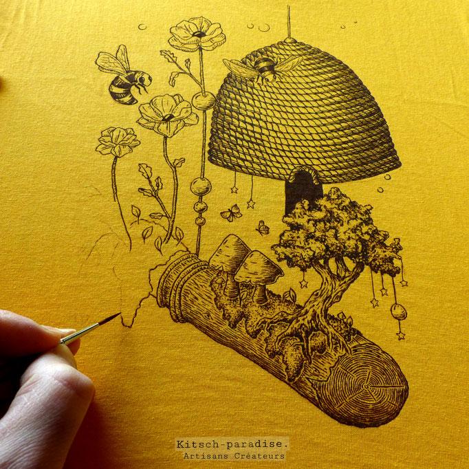 kitsch-paradise, peinture sur textil