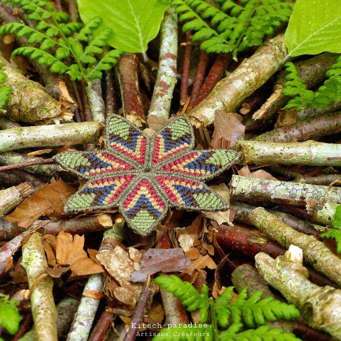 kitsch-paradise, barrette fleur en macramé