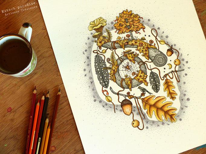 kitsch-paradise, encre de chine et crayon de couleur