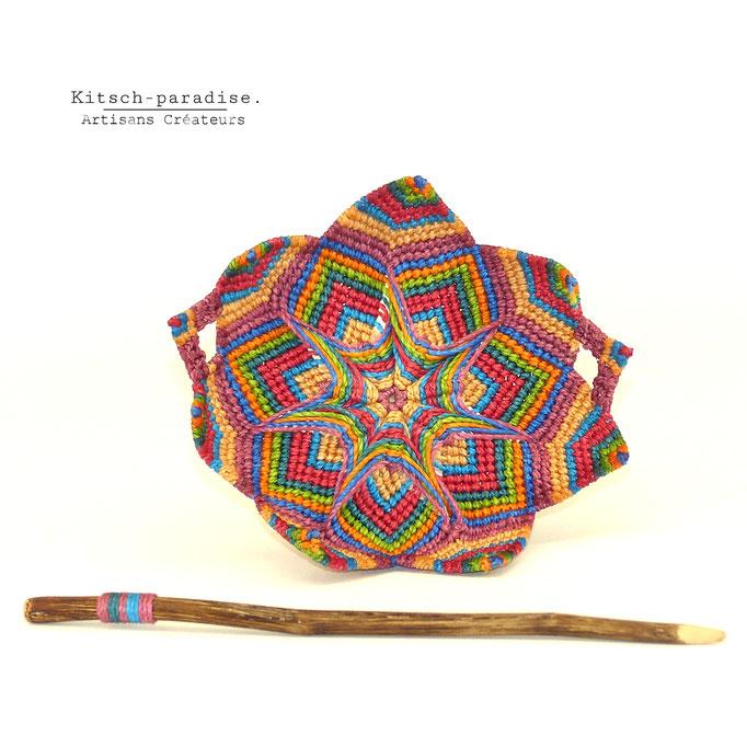 kitsch-paradise, Barrette mandala psychédélique