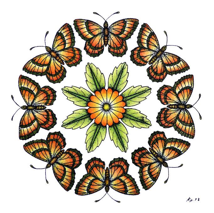 """kitsch-paradise, """"fleur à papillon"""" , mandala,encre de chine et crayon de couleur"""