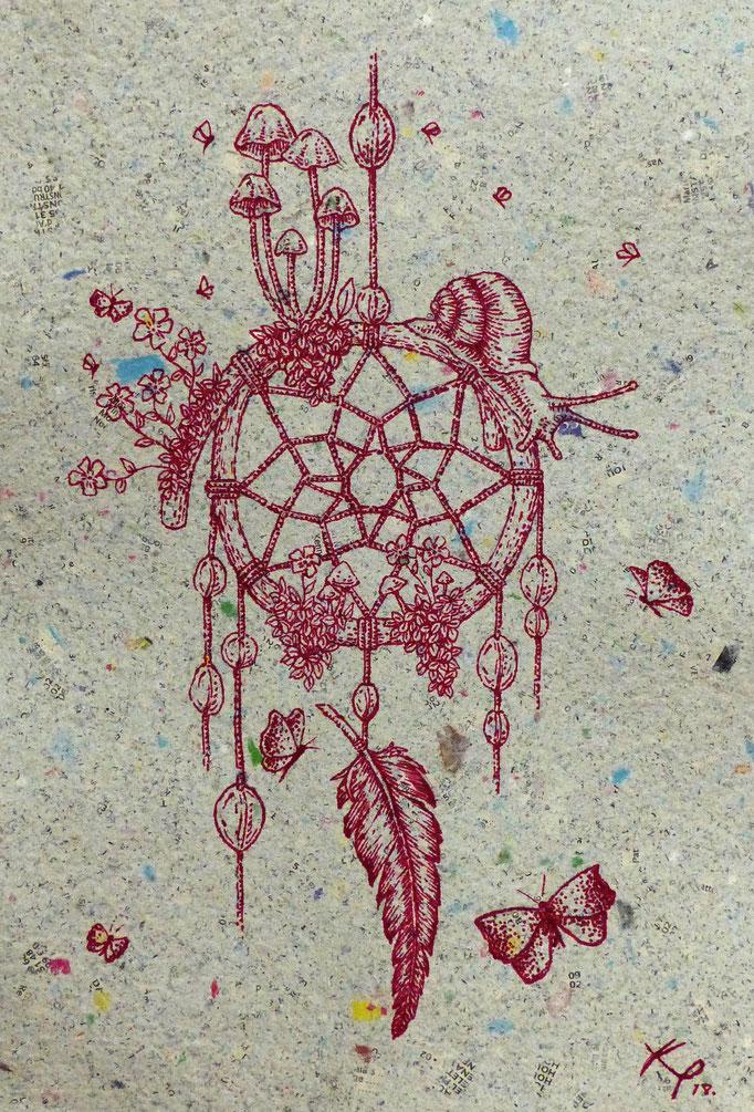 kitsch-paradise, encre rouge, réalisé à la plume sur papier recyclé
