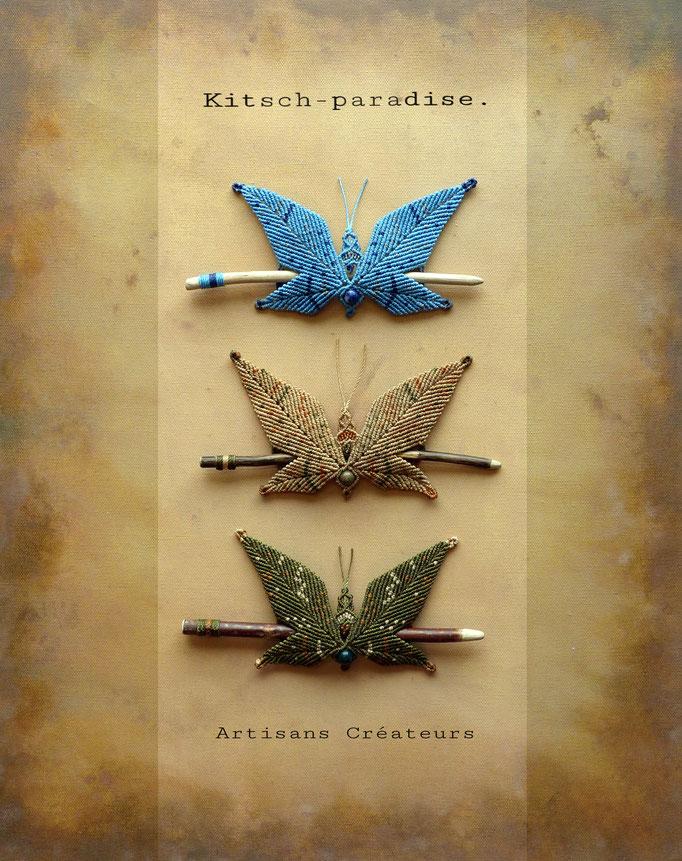 kitsch-paradise, barrette bois en papillon