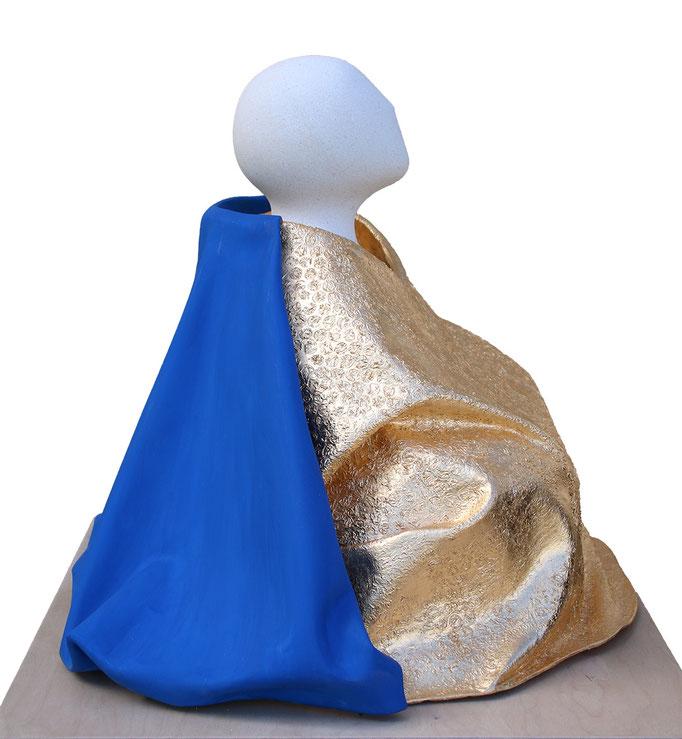 """""""Barnabé, l'homme lent"""" - sculpture en pierre de Lens, fibres végétales et dorure à la feuille d'or -"""