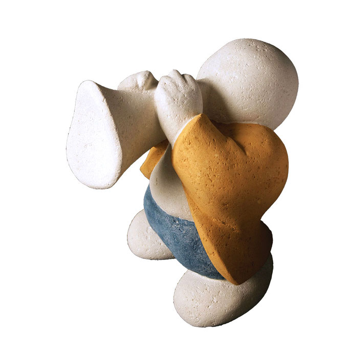 """""""Barnabé, le trompette"""" - sculpture en pierre du Gard - 35x27x31 cm"""