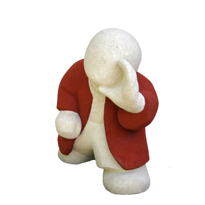 """""""Barnabé, à l'écoute"""" - sculpture en pierre du Gard - 37x29x20 cm"""