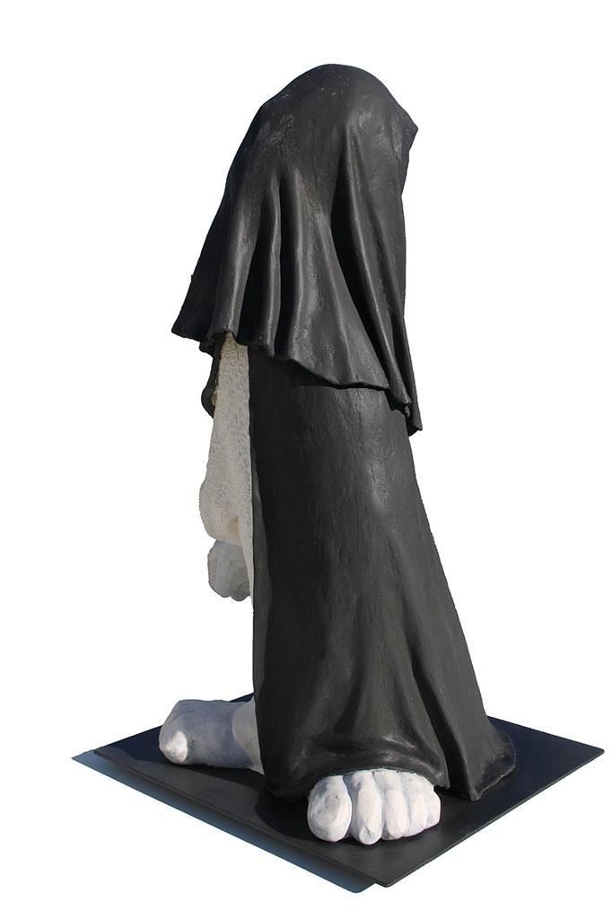 """""""Colosse II"""" - sculpture en fibres végétales et poudre de pierre -"""