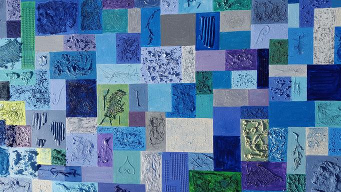 Name: Karo blau, Masse: 100 x 100 x 5 cm, Preis: Sfr. 3 250.--