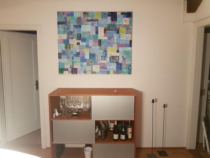 Name: Karo hell-blau, Masse: 100 x 100 x 5 cm, Preis: Sfr. 3 250.--