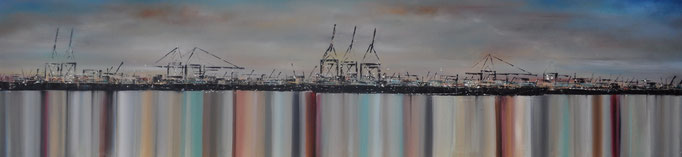 Spiegelung II, 250 cm x 70 cm, Öl auf Leinwand, 2014