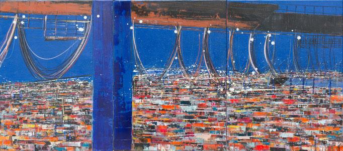 Containermeer, 3 x 60 cm x 80 cm, Acryl auf Leinwand, 2913