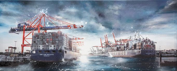 Rigoletto bei Tag, 250 cm x 90 cm, Öl und Photographie auf Leinwand, 2012