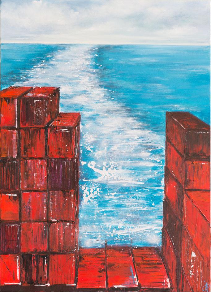Auf dem Weg, 140 cm x 100 cm, Öl auf Leinwand, 2013