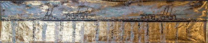 6 Meter Hafen auf Blattgold, 600 cm x 120 cm, Blattgold und Acryl auf Leinwand- Abendstimmung