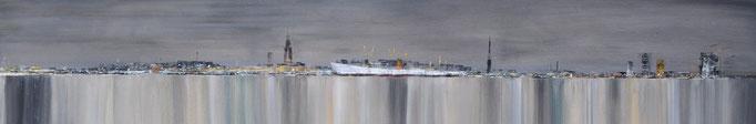 Stadtlichter, 200 cm x 40 cm, Öl auf Leinwand, 2011