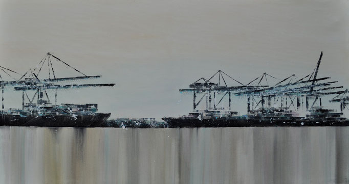 Hafenharmonie, 150 cm x 30 cm, Öl auf Leinwand, 2011