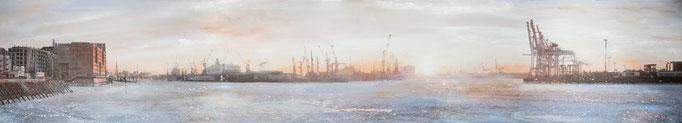 Eissonne, 250 x 45 cm, Öl und Photographie auf Leinwand, 2010