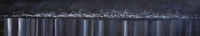 schwarzweiß, 200 cm x 40 cm, Öl auf Leinwand, 2012