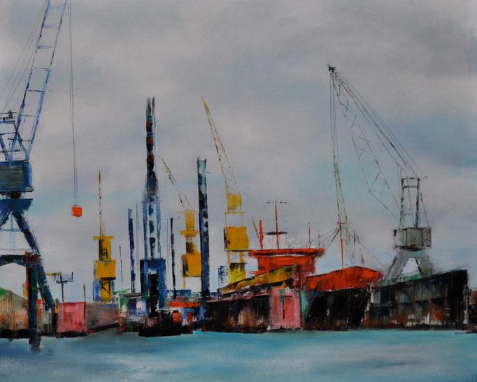 Im Hafen, 80 cm x 110 cm, Öl auf Leinwand, 2011