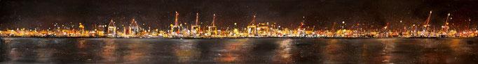 Hafenfeuer, 200 x 27 cm, Öl auf Leinwand, 2010 VERK.
