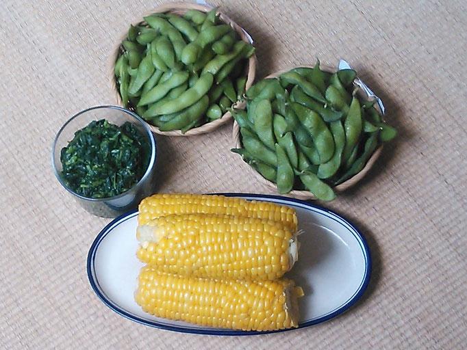 朝採り枝豆・トウモロコシ・モロヘイヤ
