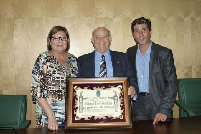 Con la alcaldesa Soledad Ramón y David Nácher, concejal de cultura.
