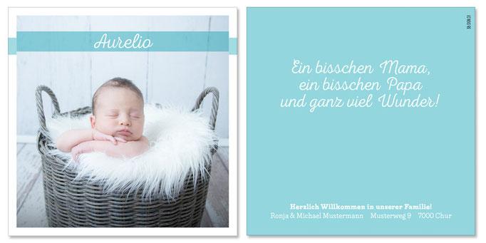 Aurelio: 2-seitig, 130×130 mm   Foto: © Nicole Ruffner-Racheter, www.babyaugenblick.ch