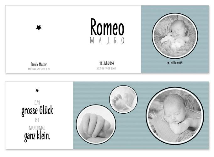 Romeo: Leporello, offen: 435×145 mm, geschlossen: 145×145 mm   Foto: © Nicole Ruffner-Racheter, www.babyaugenblick.ch