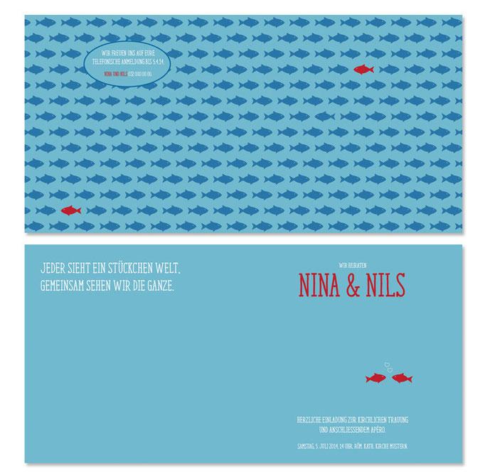 Nina & Nils: 4-seitig, gefalzt 130×130 mm, offen 260×130 mm