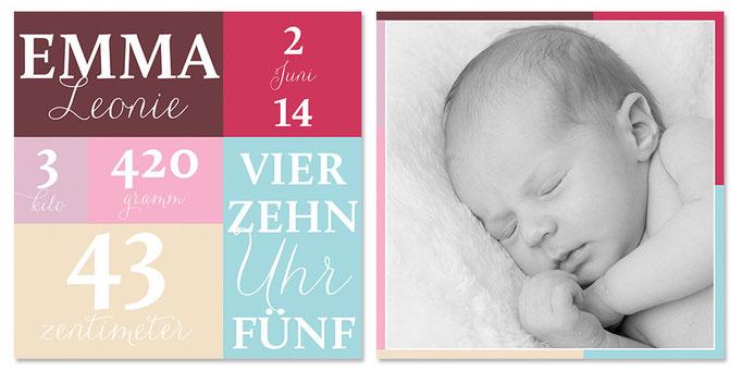 Emma: 2-seitig, 130×130 mm   Foto: © Nicole Ruffner-Racheter, www.babyaugenblick.ch