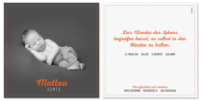 Matteo Romeo: 2-seitig, 130×130 mm   Foto: © Nicole Ruffner-Racheter, www.babyaugenblick.ch
