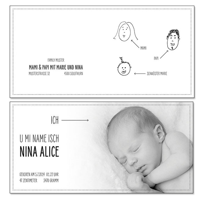 Nina: 4-seitig, gefalzt 130×130 mm, offen 260×130 mm   Foto: © Nicole Ruffner-Racheter, www.babyaugenblick.ch