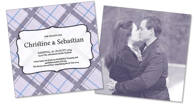 Christine & Sebastian & Foto: 2-seitig, 130×130 mm