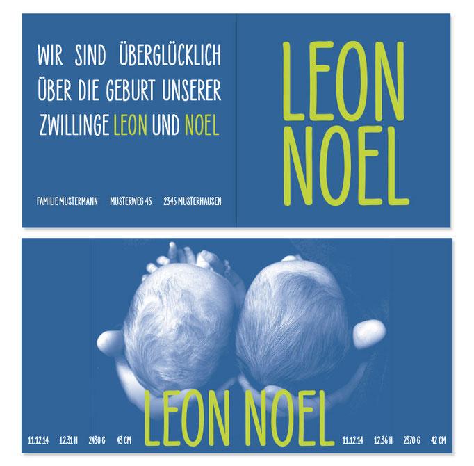 Leon & Noel: 4-seitig, gefalzt 130×130 mm, offen 260×130 mm   Foto: © Sabrina Züger, www.engels-fotografie.ch