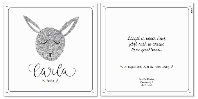Carla Emilia: 2-seitig, 130×130 mm