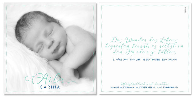 Aila Carina: 2-seitig, 130×130 mm   Foto: © Nicole Ruffner-Racheter, www.babyaugenblick.ch
